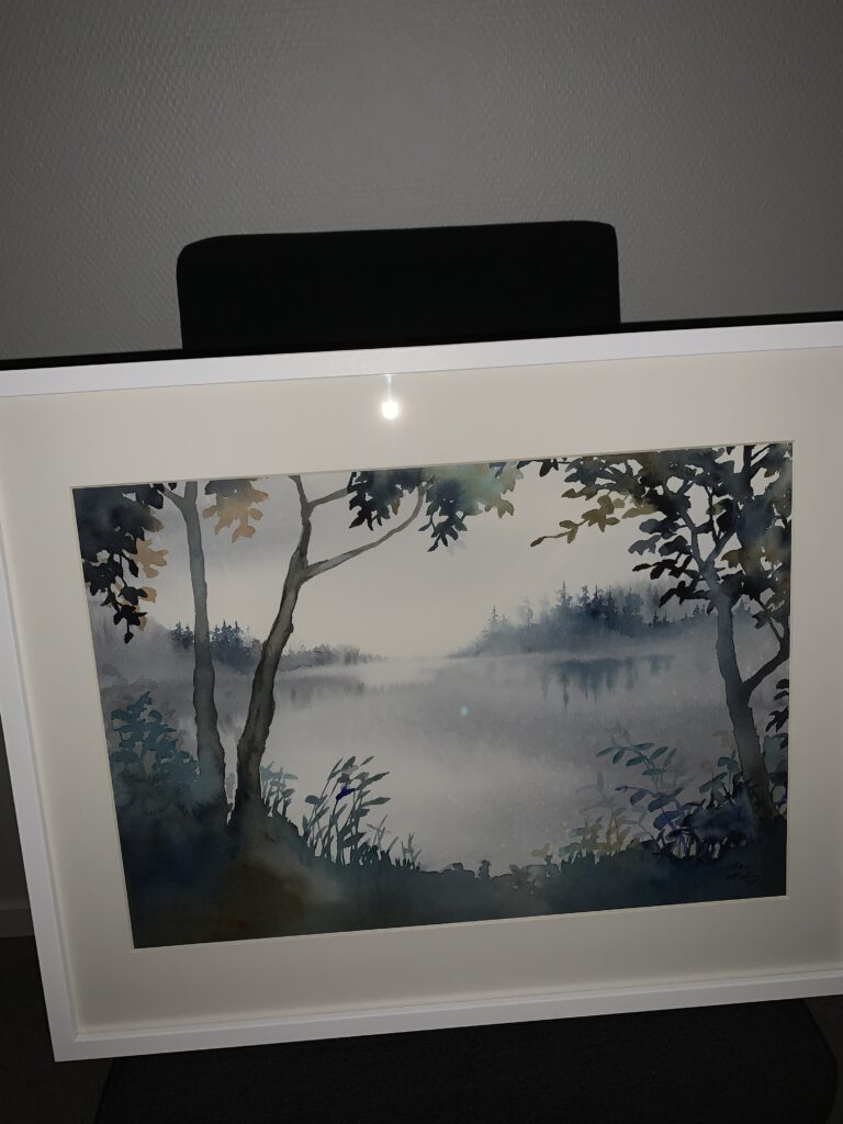 Hemma, akvarell, E, Malin Mossberg
